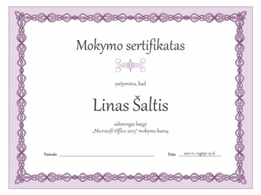 Mokymo sertifikatas (violetinės grandinės dizainas)