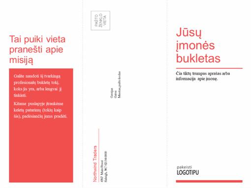 Triskart perlenkiamas verslo, medicinos bukletas (raudonos ir baltos spalvų dizainas)