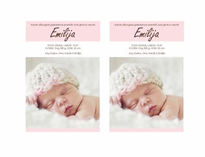 Pranešimas apie mergaitės gimimą