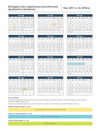 2017-2018 mokslo metų kalendorius
