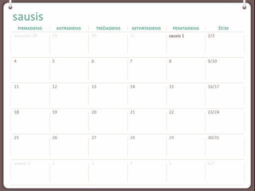 Klasikinis sieninis kalendorius (Pr–Sk, dizainas su dviem kilpelėmis)
