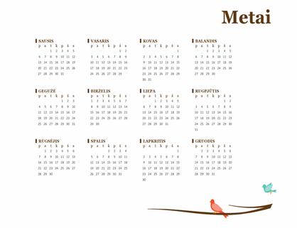 Metų kalendorius su paukščiais (pirmadienis–sekmadienis)