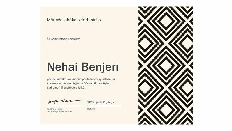 Mēneša izcilākā darbinieka sertifikāts