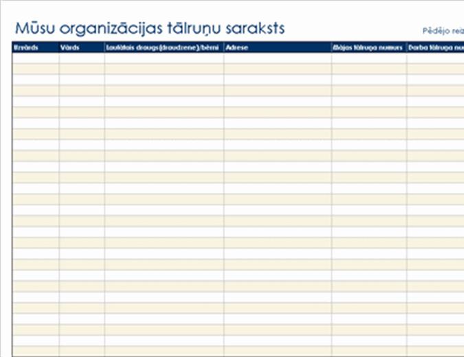 Organizācijas tālruņu numuru saraksts