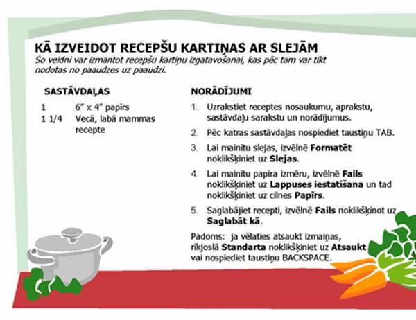 Receptes kartiņa (vairākas kolonnas)