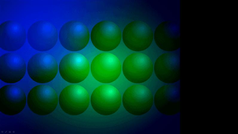 Veidne ar zilu un zaļu bumbu noformējumu