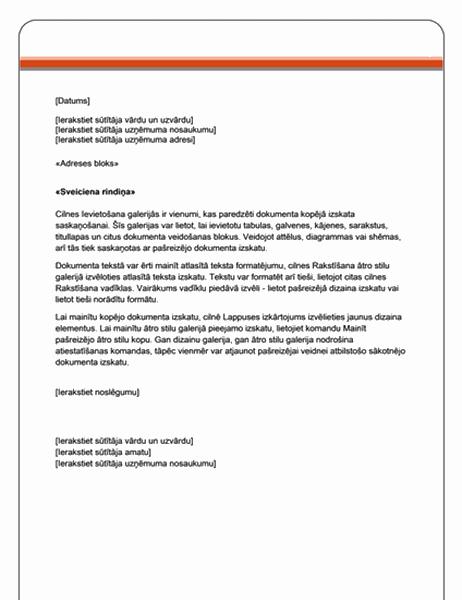 Pasta sapludināšanas vēstule (standarta dizains)
