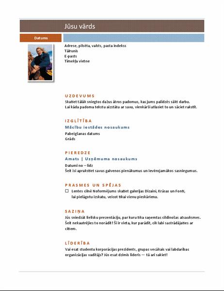 CV ar foto (mediānas dizains)