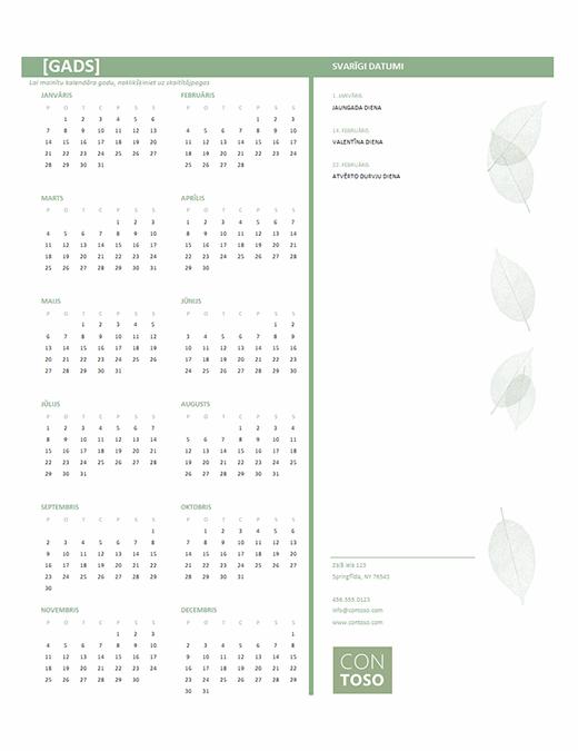 Mazs uzņēmuma kalendārs (jebkuram gadam, Pr–Sv)