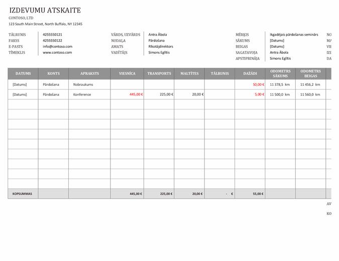 Uzņēmuma izdevumu pārskats