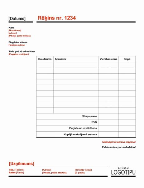 Uzņēmuma rēķins (sarkans)
