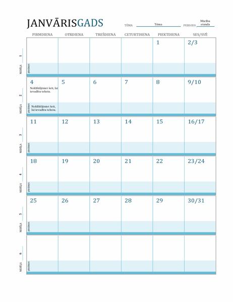Nodarbību plāna kalendārs