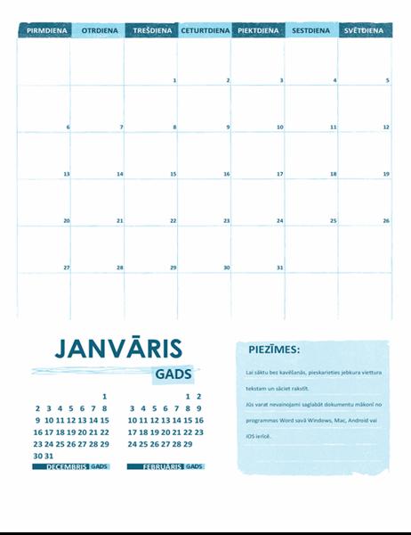 Akadēmiskais kalendārs (viens mēnesis, jebkurš gads, sākas ar pirmdiena)