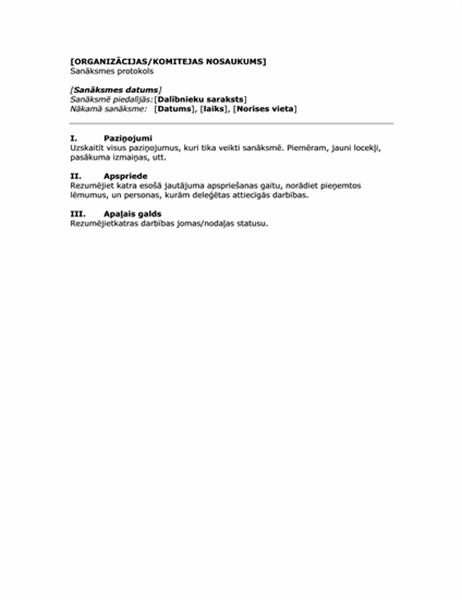 Minūtes organizācijas sapulcei (īsa veidlapa)