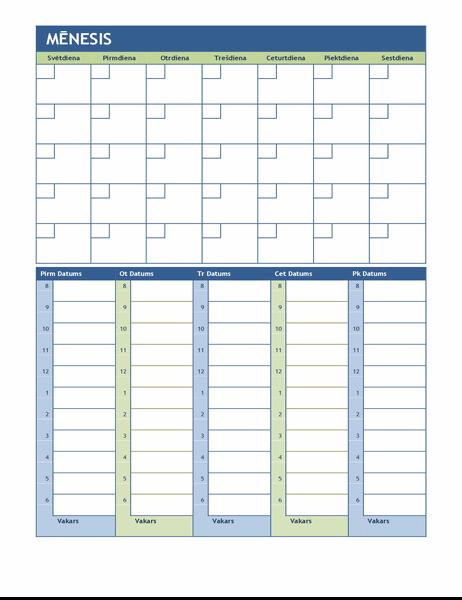 Mēneša un nedēļas plānošanas kalendārs