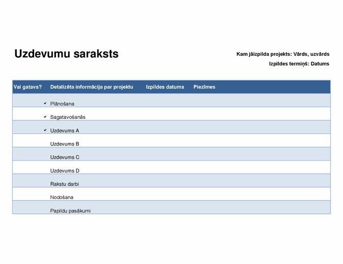 Projektu uzdevumu saraksts