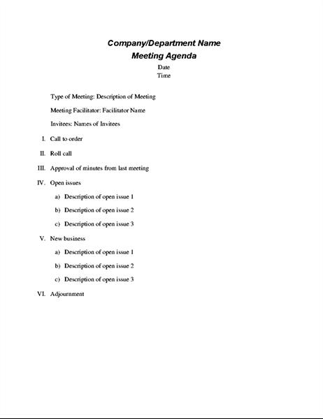 Formālas sapulces darba kārtība