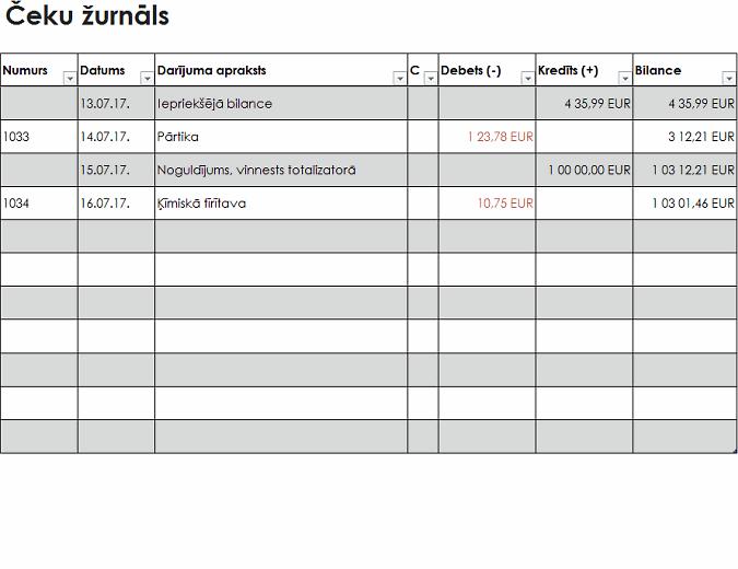 Čeku žurnāls (vienkāršs)