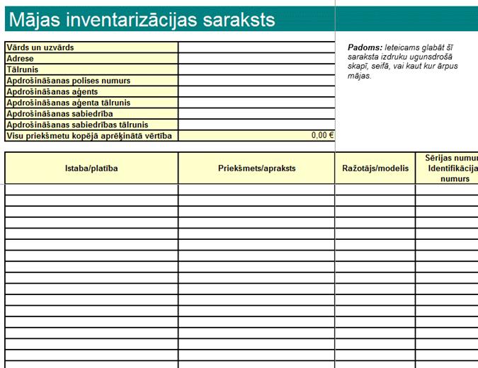 Mājas inventāra saraksts