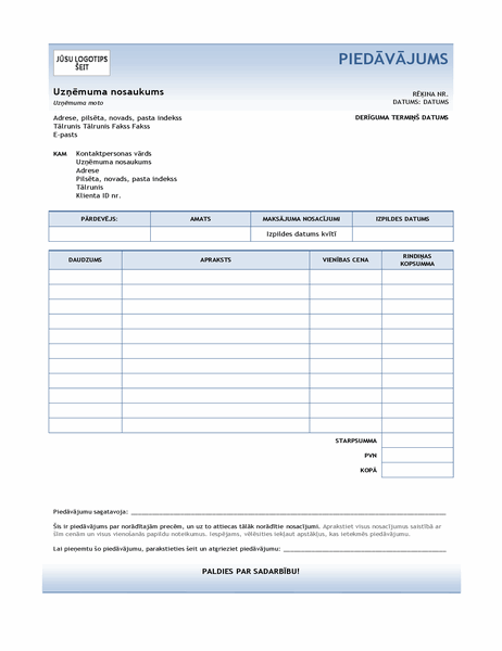 Pakalpojuma piedāvājums (zila gradienta noformējums)