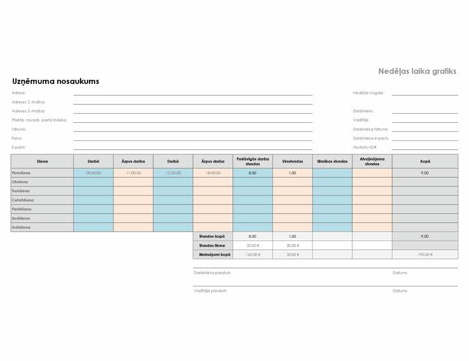 Nedēļas laika grafiks (8 1/2 x 11, ainavorientācija)