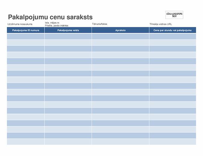 Pakalpojumu cenu saraksts