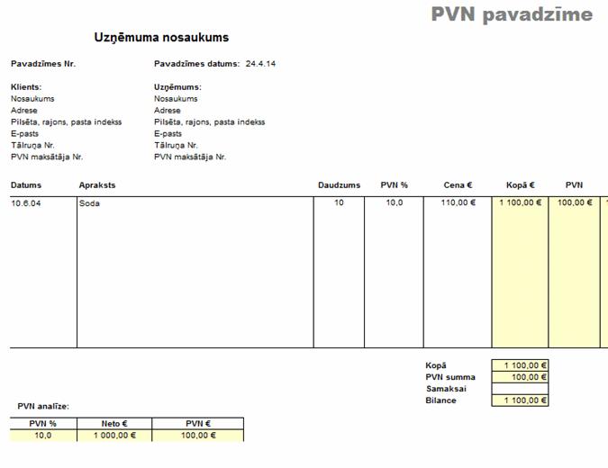 PVN pavadzīme - cena ar nodokli