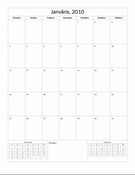 2010.gada kalendārs (pamata noformējums, pirmd.–svētd.)