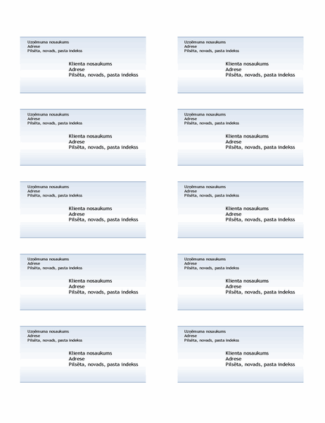 Transportēšanas uzlīmes (zilā gradienta noformējums, 10 lapā)