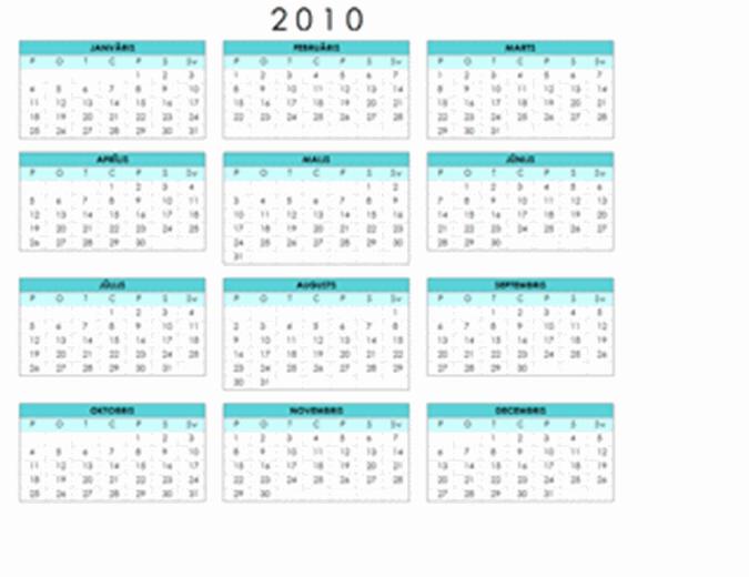 2010. gada kalendārs (1 lapa, ainava, pirmdiena–svētdiena)