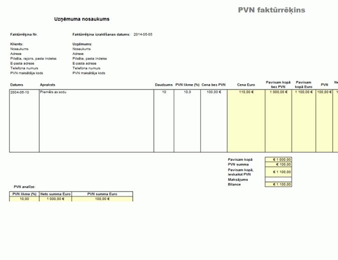 PVN faktūrrēķins - cena, neietverot nodokli