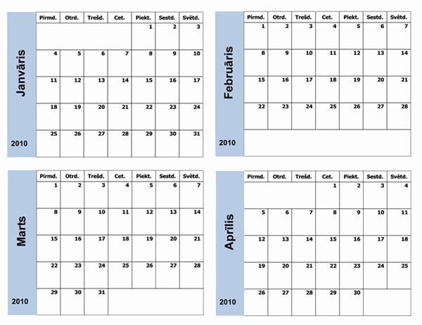 2010.gada kalendārs ar zilu apmali (3lpp., pirmd.–svētd.)