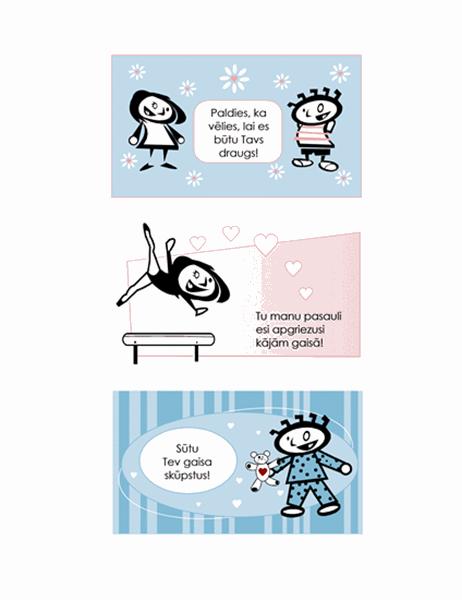 Izveidojiet Valentīna dienas apsveikuma kartītes bērniem (4 lapas ar kartīšu noformējumiem un 1 universāla aizmugures lapa)