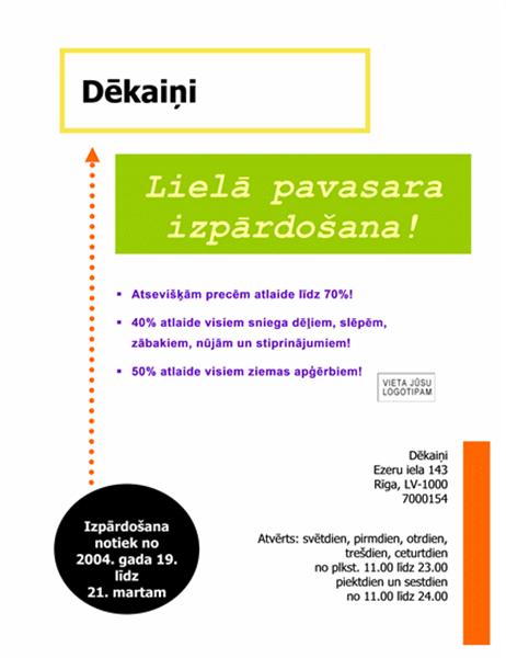 Izpārdošanas reklāmlapa (8,5x11; 3 elementi)