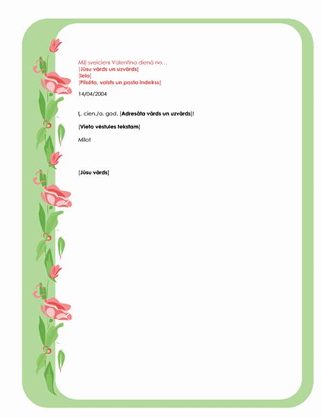 Valentīna dienas vēstuļpapīrs