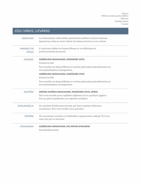 CV (mūžīgs noformējums)