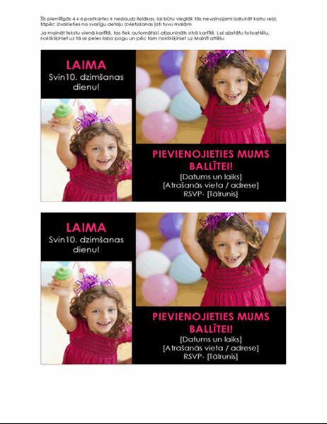 Dzimšanas dienas svinības uzaicinājuma pastkartes ar fotoattēliem (divas katrā lapā)