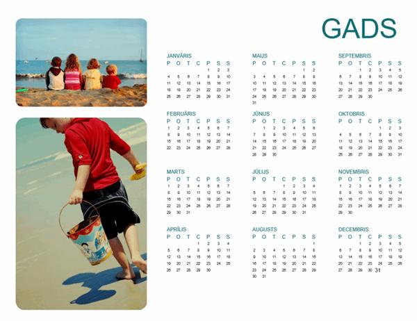 Ģimenes fotoattēlu kalendārs (jebkurš gads, 1 lappuse)