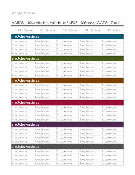 Nedēļas uzdevumu kalendārs