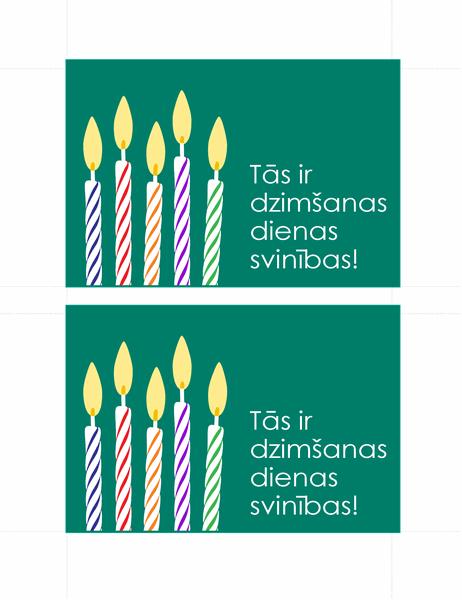 Dzimšanas dienas ielūgumu pastkartes (2 katrā lapā)
