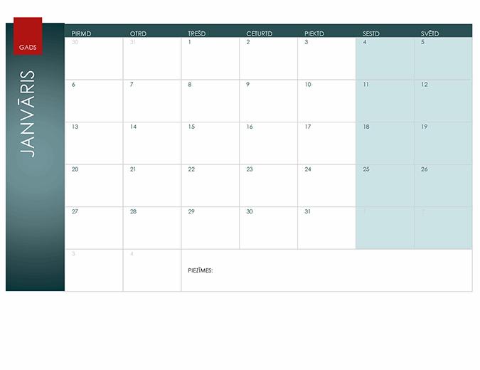 Kalendārs jebkuram gadam (jona dizains)