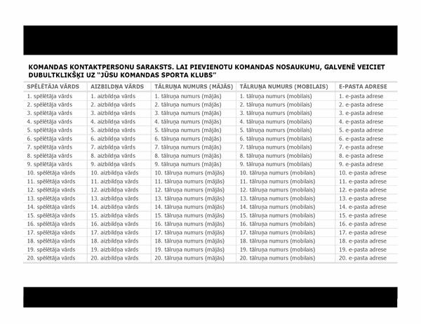 Kontaktpersonu saraksts sporta komandai