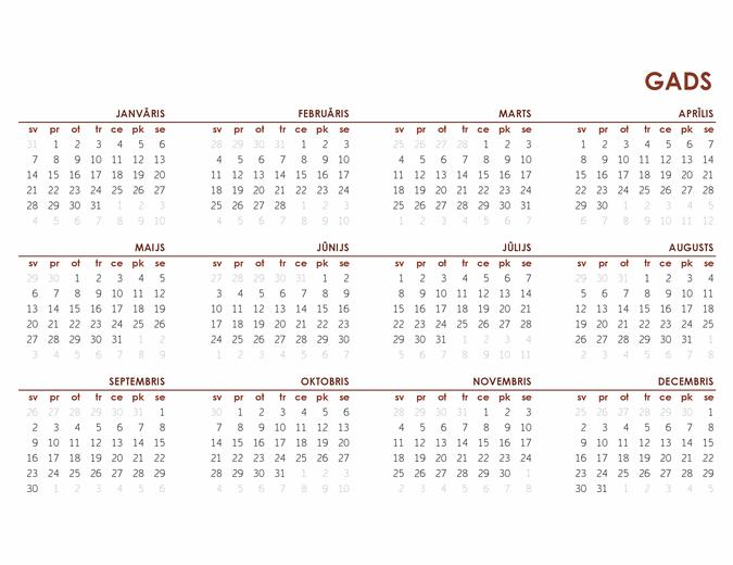 Pilna gada globālais kalendārs