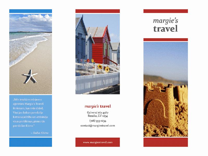 Trīskārt locīta brošūra (sarkanā, zelta un zilā krāsā)