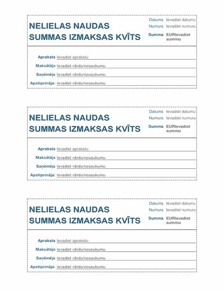 Mazas naudas summas izmaksas kvīts (3 lapā)