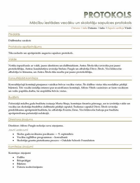 Vecāku un skolotāju sapulces protokols