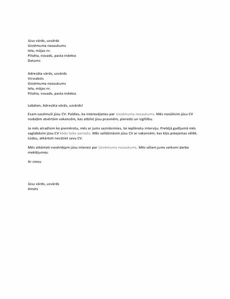 Vēstule kandidātam ar viņa CV saņemšanas apstiprinājumu