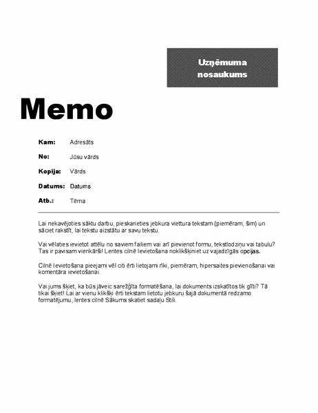 Iekšējais memo (profesionāls noformējums)