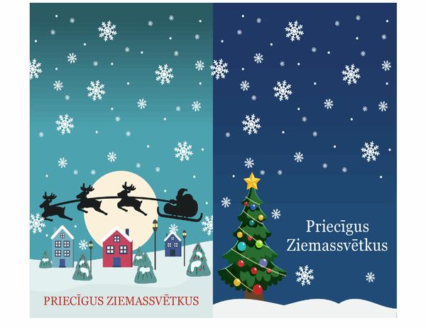 Svētku piezīmju kartiņas (Ziemassvētku noskaņas noformējums, 2kartiņas lappusē)