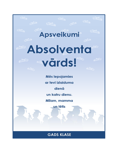 Absolventa apsveikuma skrejlapa (izlaiduma noformējums)